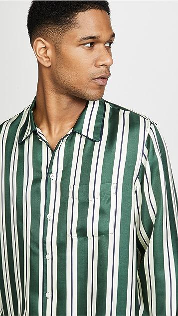 Sleepy Jones Striped Silk Twill Henry PJ Top