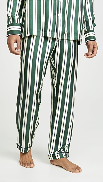 Sleepy Jones Striped Silk Twill Henry PJ Bottoms