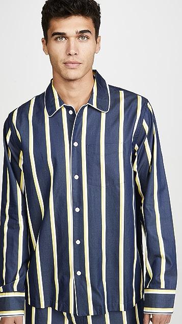 Sleepy Jones Henry Pajama Set In Collegiate Stripe