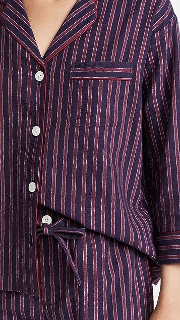 Sleepy Jones Marina Flannel Stripe Pajama Set