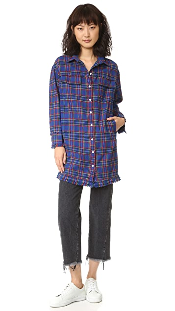 SJYP Plaid Check Long Shirt