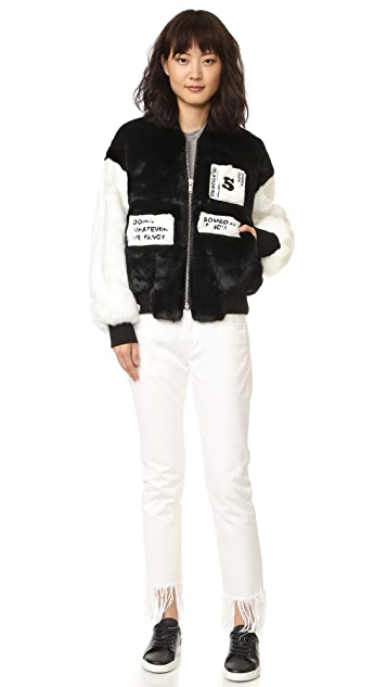 SJYP Faux Fur Stadium Bomber Jacket