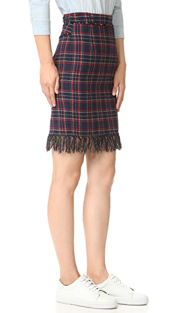 SJYP Fringe Trim Plaid Check Skirt