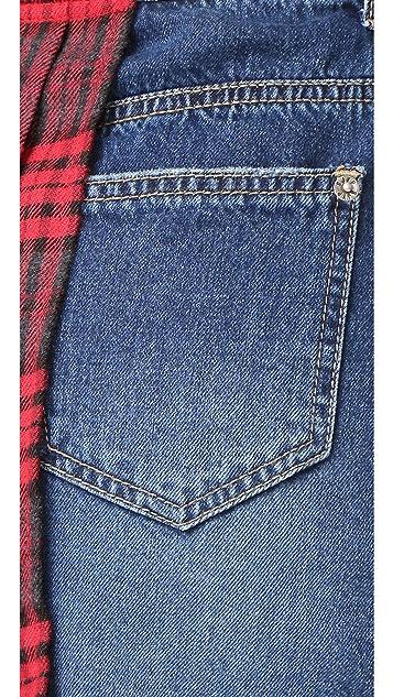 SJYP Split Plaid Check Denim Skirt