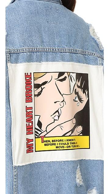 SJYP Marvel Patch Denim Jacket
