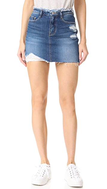 SJYP Destroyed Denim Miniskirt