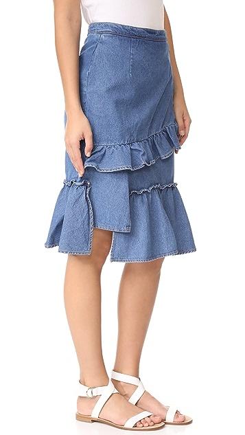 SJYP Ruffle Denim Skirt