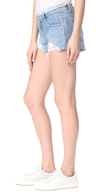 SJYP Destroyed Belted Shorts