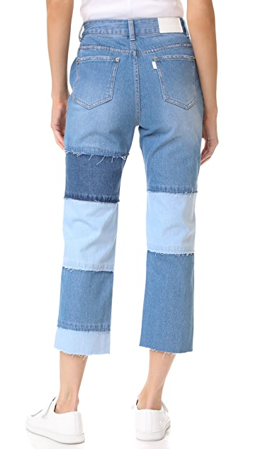 SJYP Multi Patched Cutoff Jeans
