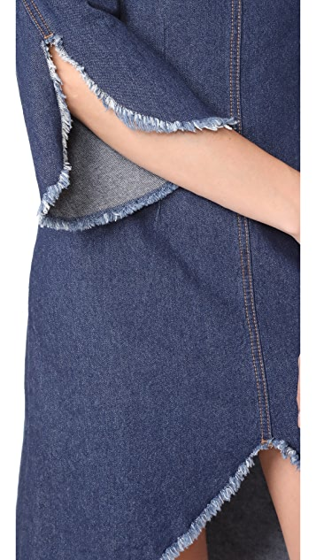 SJYP Front Cut Off Denim Dress