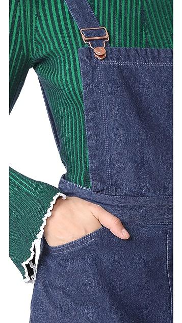 SJYP Cut Off Denim Overall Dress