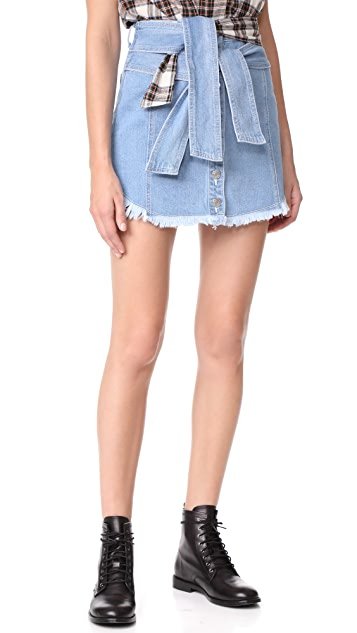 SJYP Shirt Tie Denim Miniskirt