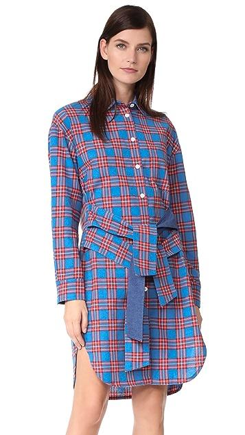 SJYP Tie Waist Check Dress