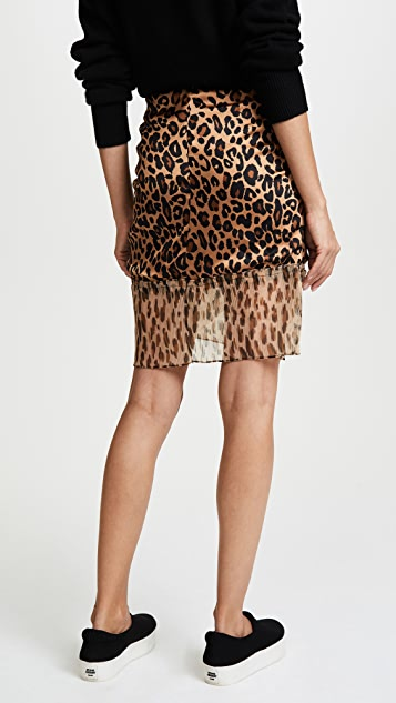 SJYP Leopard Pleats Detail Mini Skirt