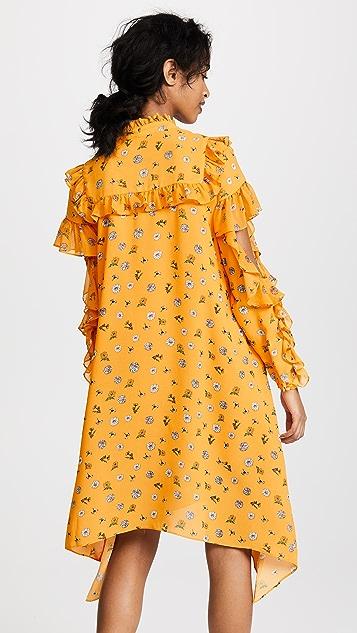 SJYP Платье с оборками и цветочным принтом
