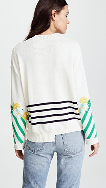 SJYP Flower Embroidery Knit Top
