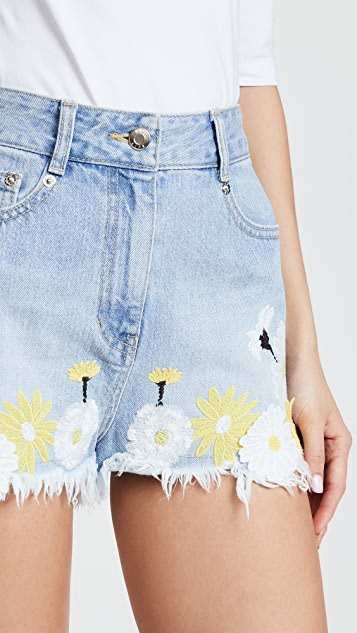 SJYP Flower Embroidery Denim Shorts