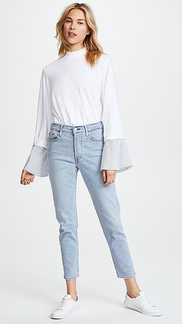 SJYP Wide Shirt Cuff Top