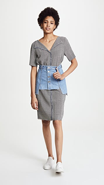 SJYP Denim Layered Skirt