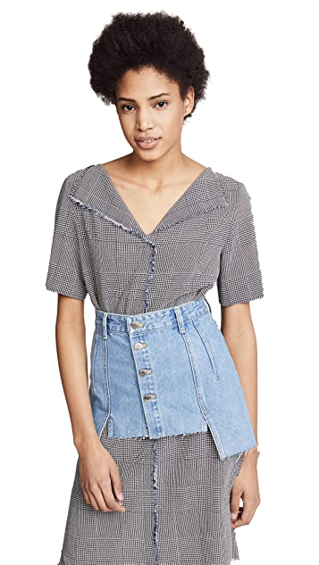 SJYP Denim Layered Skirt