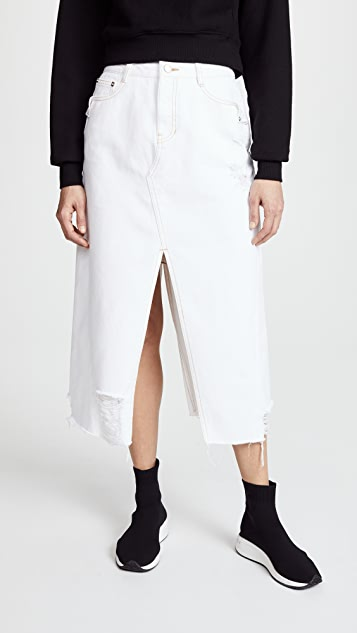 SJYP Unbalanced Bottom Cut Denim Skirt - White