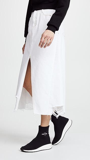 SJYP Unbalanced Bottom Cut Denim Skirt