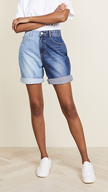 SJYP Side Two Tone Denim Shorts