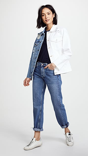 SJYP Half and Half Denim Jacket