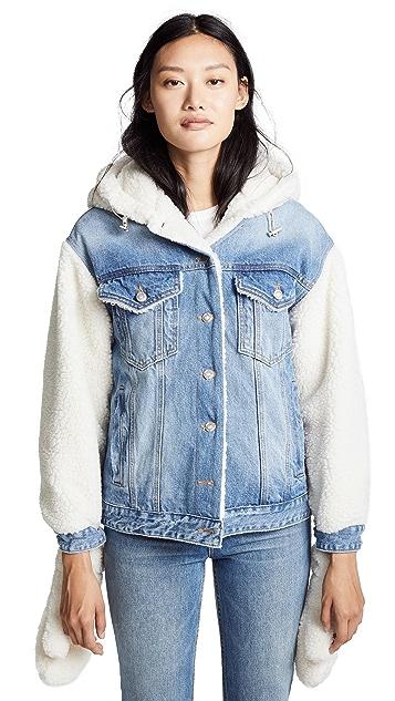 SJYP Sherpa Hoodie Denim Jacket