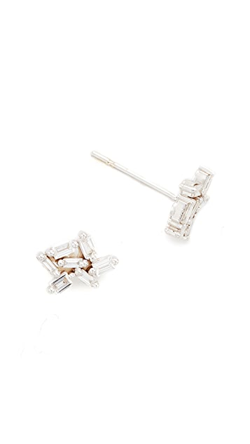 Suzanne Kalan Fireworks 18k Gold Diamond Baguette Earrings