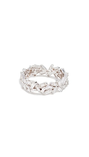 Suzanne Kalan 18k Gold Diamond Baguettes Eternity Band Ring