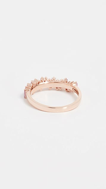 Suzanne Kalan 18k Gold Pink Sapphires Baguette Ring