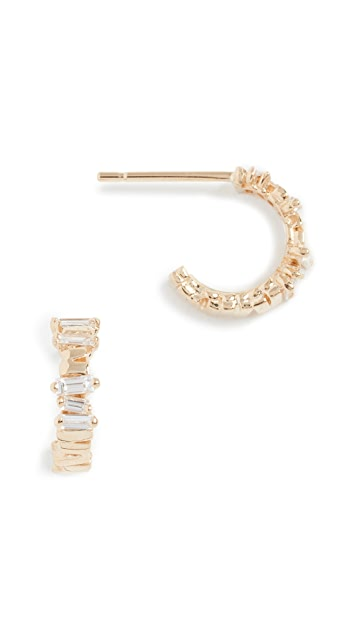 Suzanne Kalan 18k Gold Diamond Huggie Earrings