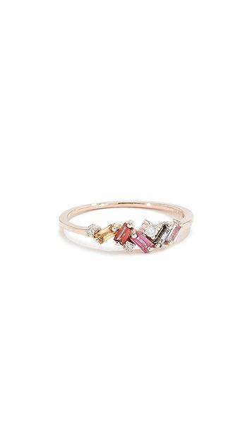 Suzanne Kalan Миниатюрное кольцо из 18-каратного золота с сапфирами огранки «багет»