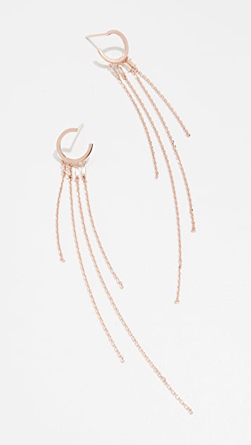 Suzanne Kalan 18K Mini Hoop Earrings with Baguette and Fringe Detail