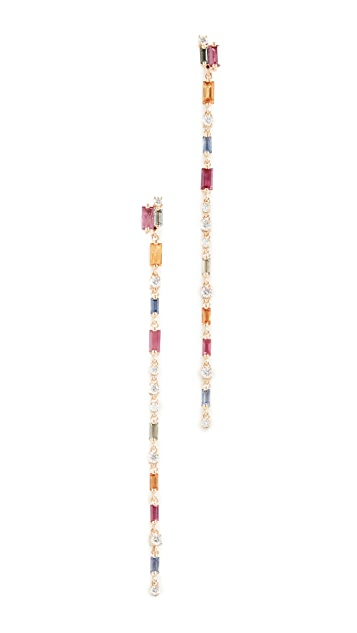 Suzanne Kalan 18k Dangling Rainbow Fireworks Earrings