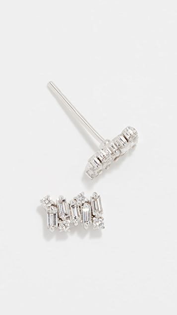 Suzanne Kalan 18k Diamond Baguette Post Earrings