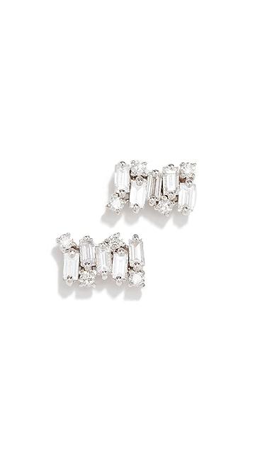 Suzanne Kalan 18k Diamond Baguette Post Earrings