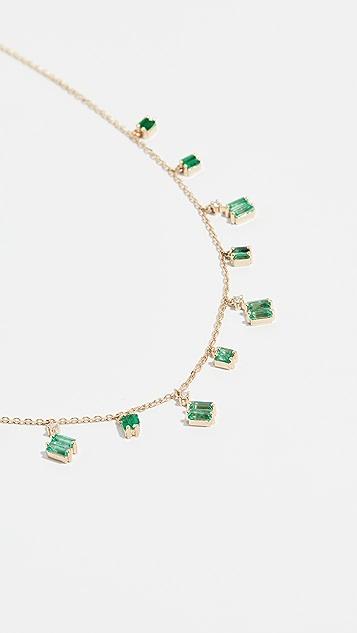 Suzanne Kalan 18k Gold Cascading Emeralds Necklace