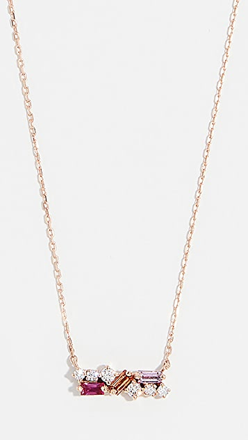 Suzanne Kalan 18k 玫瑰金宝石蓝长方形宝石项链