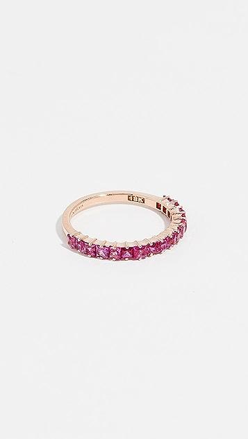 Suzanne Kalan Кольцо из 18-каратного розового золота с темно-розовым сапфиром огранки «принцесса»