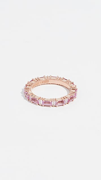 Suzanne Kalan 18k Rose Gold Rainbow Pink Sapphire Baguettes Ring - Rose Gold