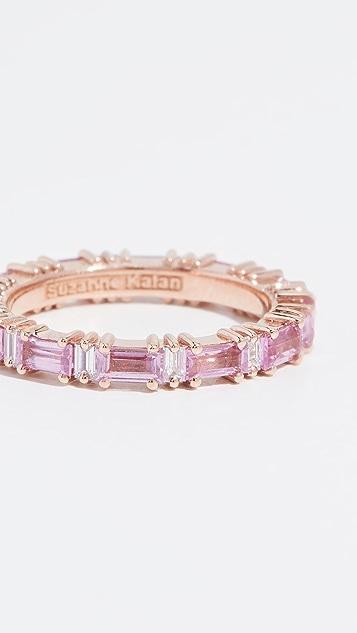 Suzanne Kalan 18K 玫瑰金彩虹粉色蓝宝石长方形宝石戒指