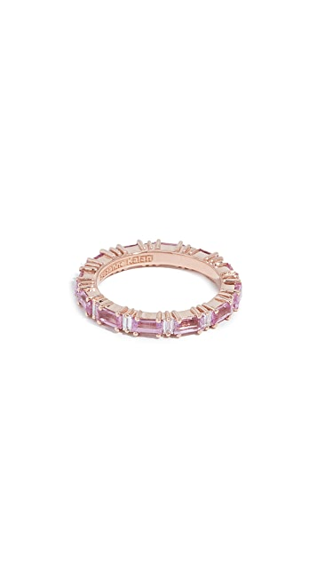Suzanne Kalan 18k Rose Gold Rainbow Pink Sapphire Baguettes Ring