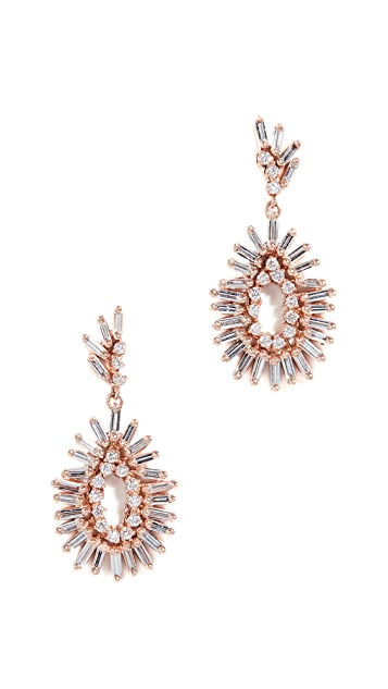 Suzanne Kalan 18k Rose Gold Mini Pear Shaped Earrings