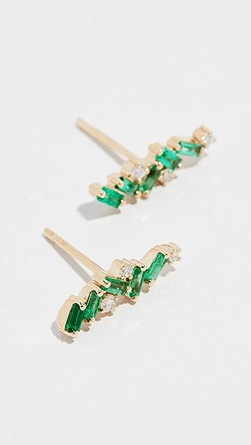 Suzanne Kalan 18k Gold Emerald Cluster Stud Earrings