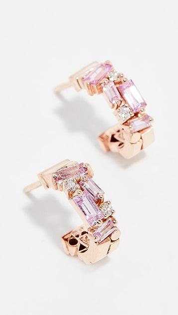 Suzanne Kalan 18k Rose Gold Pink Sapphire & Diamond Huggie Earrings