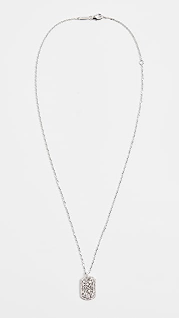 Suzanne Kalan 18k White Gold Mini Dog Tag Necklace