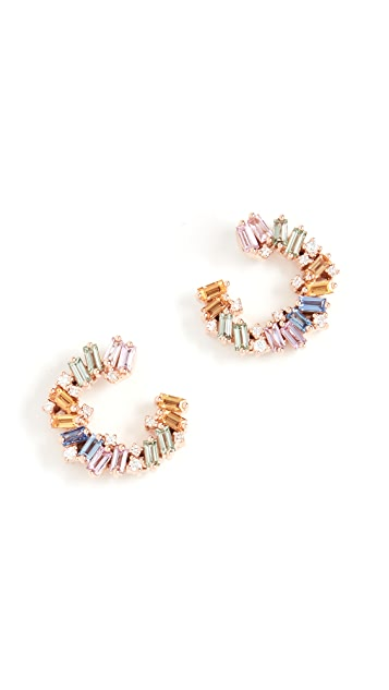 Suzanne Kalan 18k Rose Gold Pastel Rainbow Fireworks Spiral Hoop Earrings