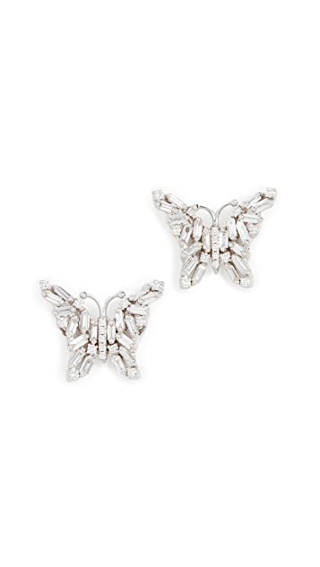 Suzanne Kalan 18k White Gold Fireworks Small Butterfly Stud Earrings